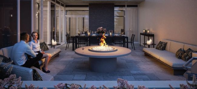 The Dylan Condos: fireplace